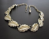 Vintage Leaf  Necklace-Gold Necklace-Leaf Link Necklace-Choker Necklace
