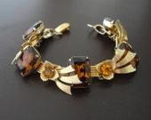 Vintage Rhinestone Bracelet, Statement Bracelet, Brown Bracelet, Gold Bracelet, 1940s Hollywood Regency