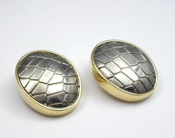 Erwin Pearl Embossed Crocodile Earrings, Gold Earrings, Statement Earrings, Grey Earrings, Alligator Earrings
