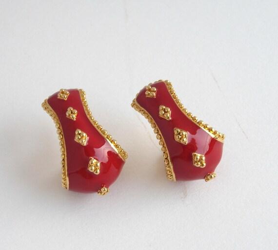 Vintage Avon Red Enameled Earrings