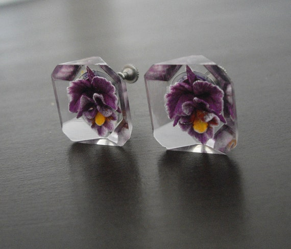 Vintage Lucite  Earrings