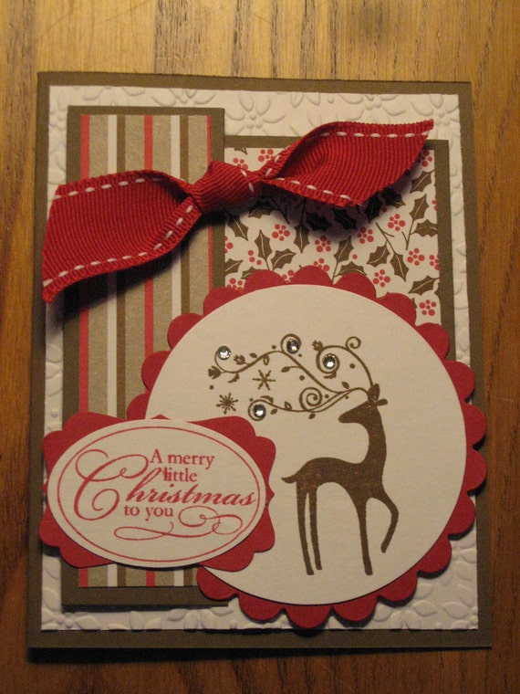 Christmas Reindeer Handmade Card Dasher friend Mom Dad Daughter Son Grandmother Sister  Stampin Up