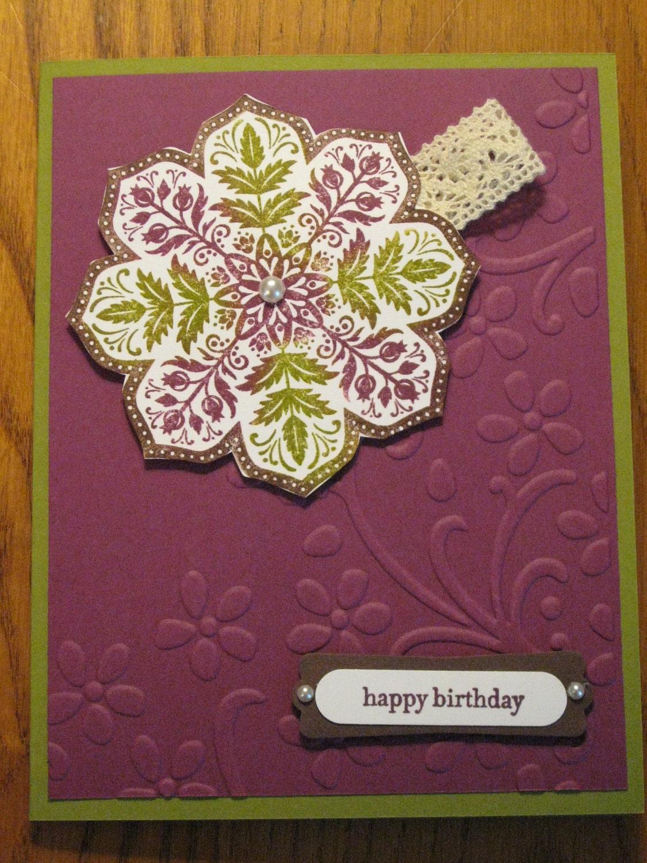 Homemade Birthday Cards For Grandma ~ Handmade birthday card medallion flowers mom grandmother