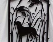 Garden Gate Labrador Dog Ducks Wildlife Metal Art Yard Fence
