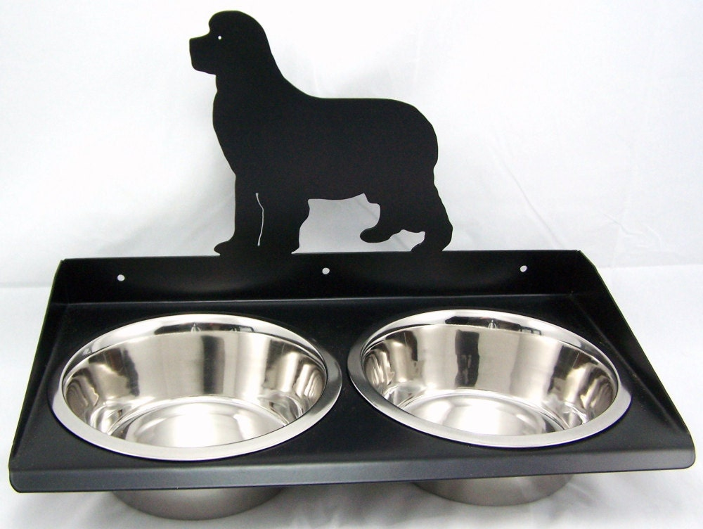 dog feeder wall mount for newfoundland by modernironworks on etsy. Black Bedroom Furniture Sets. Home Design Ideas