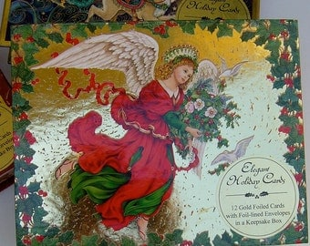 3 pak Hinged box Christmas cards by Peggy Toole-Artistic Studios-,12 cards per box gold foil