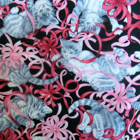 Sale CATS PLAYING with RIBBONS fabric Robert Kaufman 2.5 yards cut-2 available