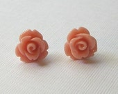 Salmon Pink Flower Stud Earrings