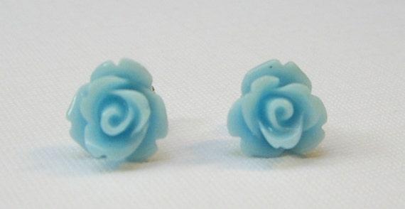 Light Blue Rose Earrings
