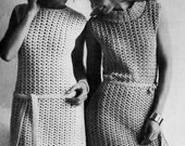 Vintage Crochet Dress PDF Pattern - 2 Variations, Cowl and Crew Neck