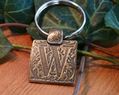 Bronze Key Chain with  Initial
