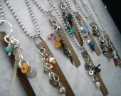 Caution Jewels Hand Stamped Sentiments With Gemstones and Antiquities - Hot