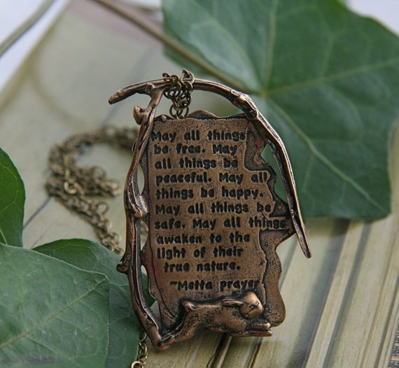 Loving Kindness Metta Prayer Quotation Handmade Necklace Pendant in bronze with chain