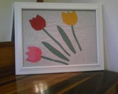 Framed quilt square of tulips