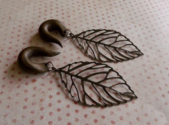 Bronze Leaf Gauged Earrings