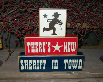 Boys Cowboy Wood Sign Blocks Wild West Nursery Decor Kids There's A New Sheriff In Town