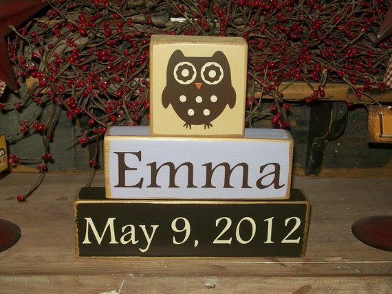 Personalized Baby Girls Kids Names Owl Themed Primitive Block Sign Distressed Nursery Decor