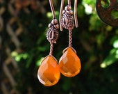 I am on SALE TODAY Autumn Pumpkin Orange faceted briolette earrings on copper earwires