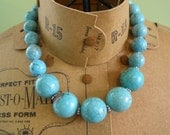 Bubbles - Chunky statement necklace in turquoise and silver