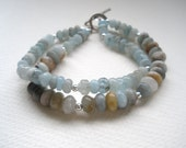 Reserved for Mary Ann -Foggy Morning - Multistrand gemstone bracelet in pale shades of blue, gray and silver