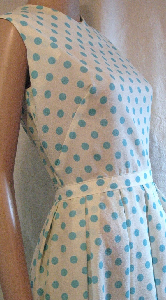 "Vintage 1950s  ""Green Brook NY"" Aqua Polka-Dot Summer Dress... Nipped Waist- Box Pleated Skirt.. Lucy Style.. Nylon Plisse"