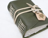 Green Love - Handbound Notebook - Olive Green Leather with Handmade Button