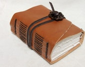 Wee Chunky Book - Handmade - Burnt Sienna with Jade Adornment Asian Symbol for Harmony