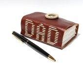 DAD - Leather Journal or Leather Notebook Blank Book Designed and Hand Sewn by Wee Bindery - OOAK
