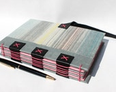 Journal or Sketchbook from Recycled Vintage Book Covers - Eco Friendly Rebound Upcycled - Pastel Stripes - Handmade