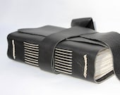 Black Leather Journal or Leather Notebook - Handmade