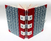 Eco-Friendly Journal or Sketchbook from Recycled Vintage Book Covers - Red White Blue - Handmade
