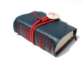 Wee Chunky Book - Blue Leather with a Handmade Porcelain Adornment