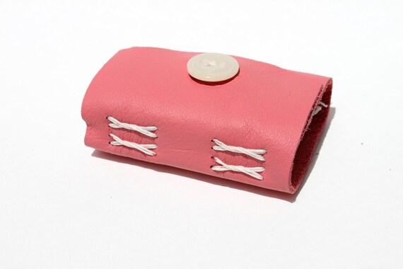 Wee Mini Book - Handmade - Leather - Bubble Gum