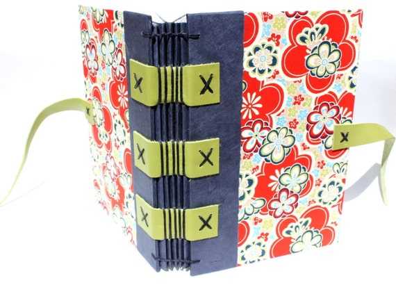 Journal or Sketchbook for the Writer or Artist - Handmade - Groovy Flowers