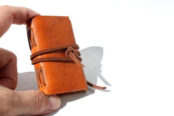 Wee Mini Notebook - Caramel Leather - Handmade