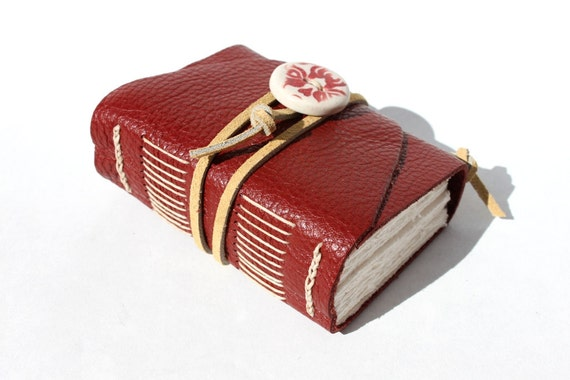 Leather Notebook - Little Brick with Handmade Porcelain Adornment