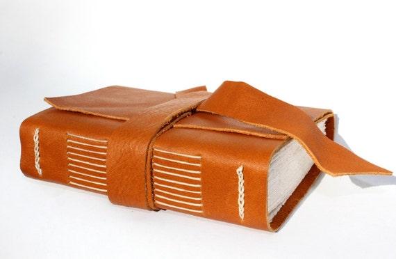 Leather Sketchbook / Notebook / Journal / Diary - Handmade - Pumpkin Roll