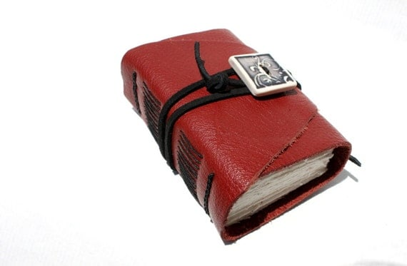 Wee Chunky Book - Handmade - Deep Red Leather - Handcrafted Porcelain Adornment