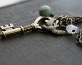 Skeleton Key Necklace, 28 inch Chain, Impression Jasper, Crystal Quartz - FREEDOM