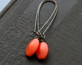 Orange Earrings, Jewelry, Orange Dangle Earrings, Brass-  Orange Grove