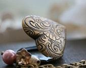 Heart Locket Necklace, Antique Gold, Flower, Vintage Locket, 18 inch chain, Pink - Amelie