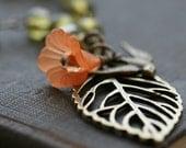 Leaf Pendant Necklace, Vintage Style Necklace, Bird Necklace  - Autumn Glow