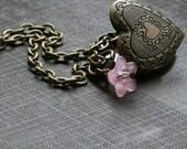 Heart Locket Necklace, Vintage inspired,Bridesmaid Gift, Pink Flower, Handmade Locket, Small Locket  - Bloom