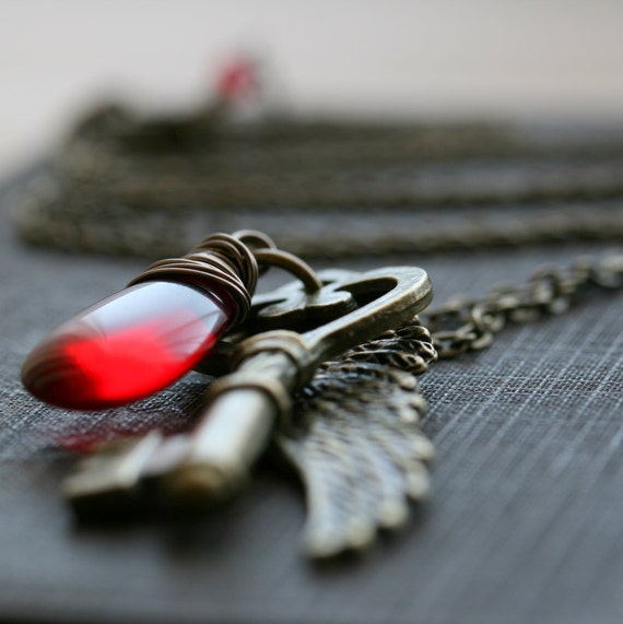 Winged Key Necklace, Angel Wing Key Necklace, Antique Brass Wing and Key Necklace, Red Glass Necklace - Angel