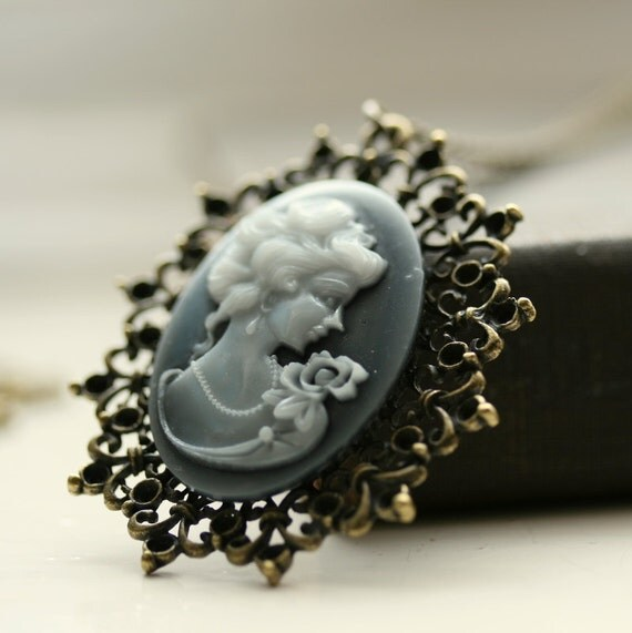 Cameo Necklace , Vintage Inspired  Cameos , Pendant Necklace , Handmade Necklace - Lady Grey