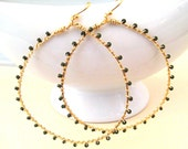 Gold Hoop Earrings, Wire Wrapped, Olive Green, Seed Beads, Handmade Jewelry, Sonja's Signature Hoops