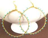 Gold Turquoise Hoop Earrings Wire Wrapped Turquoise Glass Seed Beads, Complimentary Shipping, Handmade Jewelry by Sonja Blume