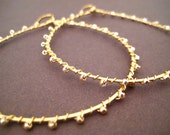 Gold Hoop Earrings Wire Wrapped, Seed Beads, Gold Beads, Delicate Earrings, Teardrop Hoop, Handmade Jewelry, Sonja's Signature Hoops