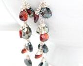 Red Garnet Earrings, Silver Hematite Teardrop, Sterling Silver Wire Wrapped, Crimson Gemstone Dangle, Handmade Jewelry by Sonja Blume