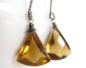 Whiskey Quartz Earrings Sterling Silver Oxidized Twisted Large Fans Handmade Jewelry, Roasting Chestnuts, Complimentary Shipping